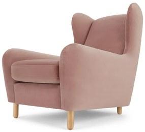 Rubens trendy fauteuil, lichtroze fluweel