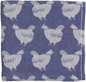 Theedoek - 65 X 65 - Katoen - Blauw Kippen (donkerblauw)