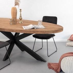 SoHome Ovale Eettafel Yannick Mango met staal, 210 x 100cm