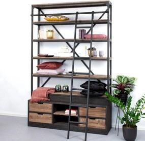 Sohome Industriele Wandkast / Boekenkast Juliën met ladder