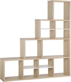 Boekenkast licht hout/wit MERLO