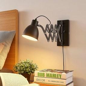 Zwarte wandlamp Merle met schaararm - lampen-24