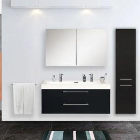 Badkamermeubel Set Shallow Hangend 45x100x38cm MDF Zwart Softclose Synthetische Marmer Wastafel 2 Kraangaten Overloop met Spiegelkast