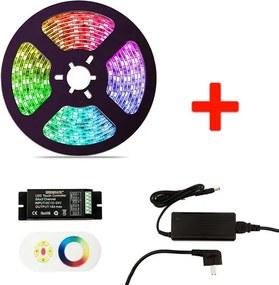 RGB LED Strip Set, 5 Meter, 14.4 Watt/meter, Waterdicht IP65, Met Adapter & Touch Afstandsbediening
