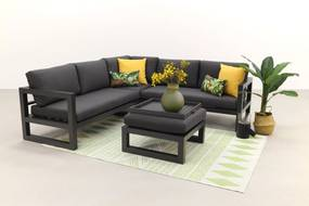 Divan aluminium loungeset - hoekbank - antraciet
