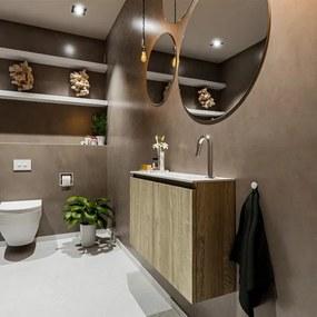 MONDIAZ TURE Toiletmeubel 80x23x50cm met 1 kraangaten 2 deuren light brown grey mat Wastafel Eden rechts Solid Surface Wit FK75341347