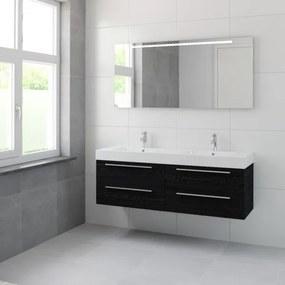Bruynzeel Bando badmeubelset 150x45cm 2 kraangaten 2 wasbakken 4 lades met spiegel met softclose Composiet zwart eiken 123101979