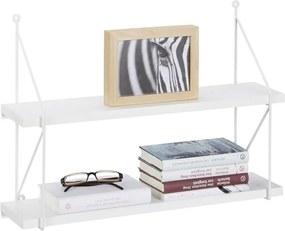 Wandrek 2 etages - MDF fotoplank met metalen frame - open wandbox - boekenplank wit