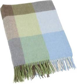 Plaid lamswol: lichtblauw, lichtgroen blokken