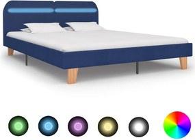 Bedframe met LED stof blauw 180x200 cm