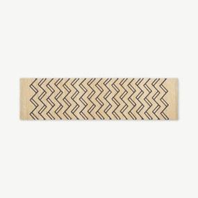 Elian geprinte juten vloerkleed, medium, 66 x 250 cm, lichtbeige en nachtblauw