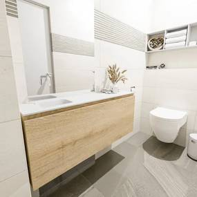 MONDIAZ OLAN Toiletmeubel 120x30x40cm met 0 kraangaten 1 lades washed oak mat Wastafel Lex links Solid Surface Wit FK75342692