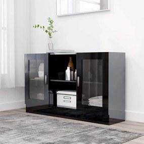 Medina Vitrinekast 120x30,5x70 cm spaanplaat hoogglans zwart