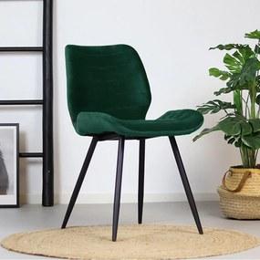 Bronx71 | Eetkamerstoel Nora breedte 47 cm x diepte 54 cm x hoogte 77 cm groen eetkamerstoelen velvet stoelen & fauteuils | NADUVI outlet