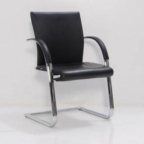 Vergaderstoel 350, zwart leder, slede frame