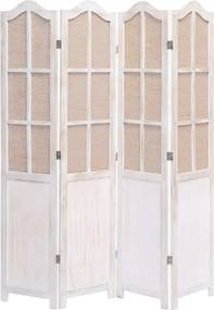 Kamerscherm met 4 panelen 140x165 cm stof wit