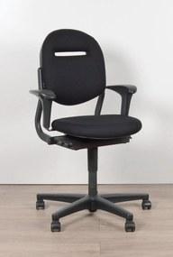 Bureaustoel 220, zwart, (opnieuw gestoffeerd) 2D armlegger