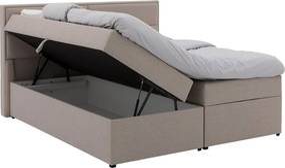 Goossens Basic Boxspring Gorium Storage Box, Vlak 180 x 200 cm (=2x 90 x 200 cm) met hoofdbord zonder voetbord incl. topper luxafoam 8 cm dik