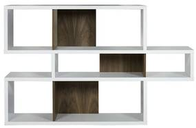 TemaHome London Lage Design Boekenkast Wit - Noten - 156x34x100cm.