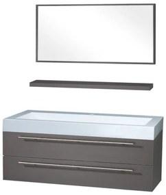 Differnz Force1250 badmeubelset 125x49x48cm MDF 1 kraangat 1 wasbak met spiegel antraciet 36.009.93