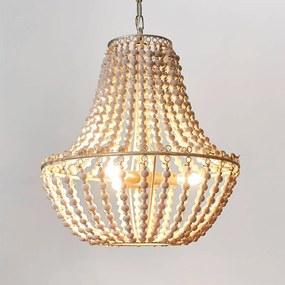 Kroonluchter Juliette van witte houten kralen - lampen-24