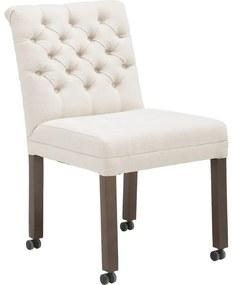 Goossens Eetkamerstoel Pearl wit stof met wielen, stijlvol landelijk