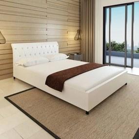 Medina Bed met matras kunstleer wit 140x200 cm