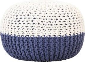 Poef handgebreid 50x35 cm katoen blauw en wit