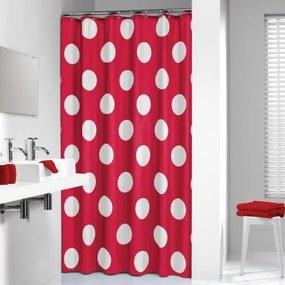 Douchegordijn Textiel Sealskin Polka Polyester Rood 180x200cm