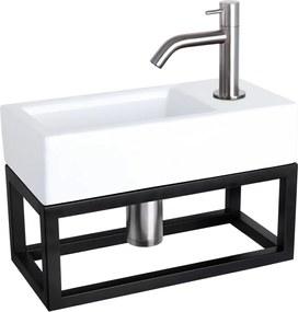 Fonteinset Differnz Ravo Rechthoek 38.5x18.5x24.5cm Keramiek Wit Handdoekrek Gebogen Toiletkraan Clickwaste Sifon RVS Look