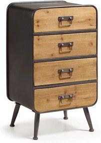 Kave Home Halie Grijze Metalen Ladekast - 48x38x83cm.
