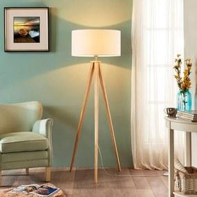 Driepoot houten vloerlamp Mya met witte kap - lampen-24