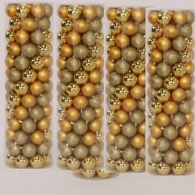Actie totaal 400 Onbreekbare kerstballen in koker diameter 6 cm goud classic