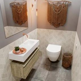 MONDIAZ ANDOR Toiletmeubel 80x30x30cm met 0 kraangaten 1 lades light brown grey mat Wastafel Lex rechts Solid Surface Wit FK75343436