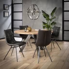 Dimehouse   Eettafel Maria lengte 135 cm x breedte 135 cm x hoogte 76 cm bruin eettafels acaciahout, metaal meubels tafels   NADUVI outlet