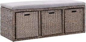 Bankje met 3 manden 105x40x42 cm zeegras grijs