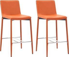 Barstoelen 2 st kunstleer oranje