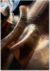 Schilderij - Gebogen staal in goudkleur