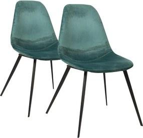 Kaja Collection | 2x eetkamerstoel Bente - totaal: breedte 47 cm x diepte 55 cm x hoogte roze eetkamerstoelen staal, velours | NADUVI outlet