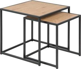 Lisomme Industriële bijzettafels - Vic - Hout - Set van 2- Bijzettafel - eikenhout - terrastafel - tuintafel - zwart metalen onderstel - Staal
