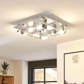 Dimbare LED plafondlamp Mischa, 8 lampen, hoekig