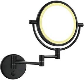 Cosmeticaspiegel Wiesbaden 20x20cm Geintegreerde LED Verlichting Kantelbaar 5x Vergroting Touch Lichtschakelaar Mat Zwart
