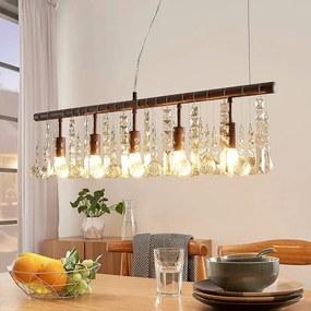 Roestkleurige kristallen hanglamp Matei, 5.lamps