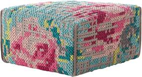 Gan - rugs Poef Canevas Square Flowers Colour - 60 x 60 - Vloerkleed