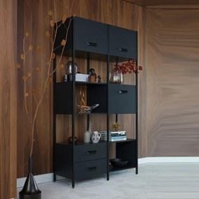 BePureHome Legacy Moderne Vakkenkast Mat Zwart - 123x45x220cm.