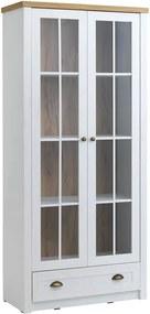Vitrinekast MARKSKEL 2 deurs wit/eiken