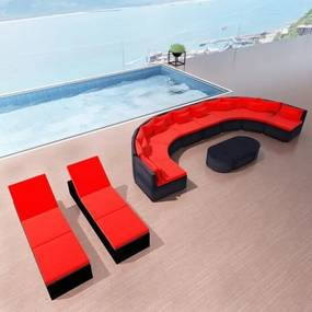 Loungeset met ligbedden poly rattan rood