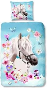 Good Morning kinderdekbedovertrek Horse - aqua blauw - 140x200/220 cm - Leen Bakker