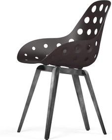 Slice stoel - Dimple Holes - Donkerbruin - Grijs onderstel