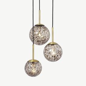 Julia cluster hanglamp met 3 lampen, bruin gevlamd glas en messing